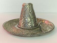With Eagle, Serpent & Floral Motif L.Maciel Vtg Mexico Sterling Silver Sombrero