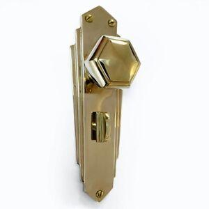 Pr of 1930`s Art Deco Repro Bathroom Thumb Turn Brass Hexagonal Door Knobs PBUL