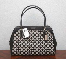 NWT COACH $358 Madison Op Art Sateen KIMBERLY Carryall Satchel 25624 BLACK WHITE