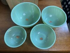 NOS FIRE KING JADE-ITE SWIRL 4 PIECE MIXING BOWL SET In The Original Box