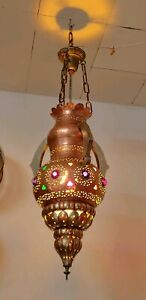 Vintage Moroccan Pierced Solid Brass & Silver Hanging Swag Pendant Lamp