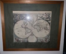 More details for huge antique world map by nikolao visscher from 1658 extremely rare original