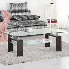 Rectangle Clear Glass Coffee Table with Dark Brown Walnut MDF Legs Chrome Bars