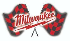 MILWAUKEE TOOLS STICKER DECAL USA CHECK FLAG MECHANIC GLOSSY LABEL TOOL BOX USA