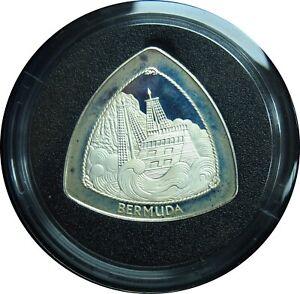 1997 $3 Bermuda Wreck Of The Sea Venture Triangle Silver Coin in Box