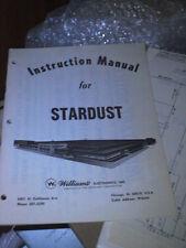 Pinball Stardust Original Manual Williams Flipper inc schematics  RARE PACKAGE