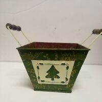 2- Vintage TINS - BASKET BOX & CHEST BOX Handles Red Old Car Merry Christmas