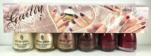China Glaze Nail Polish Guilty Pleasures Complete 6 Lacquers Original Packaging