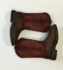 Ariat Men's Workhog Wide Sq. Toe Tall ll Work Boot, Distressed Brown/Ruby 9.5EE