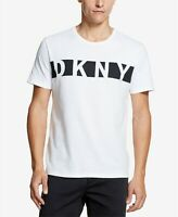 DKNY Mens Printed Logo Graphic T-Shirt White Size 2XL $39