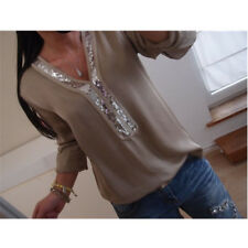 UK Womens Plus Size T Shirt Blouse Pullover Ladies Casual Tee Jumper Sequin Tops