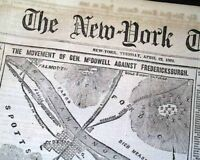 FREDERICKSBURG VA Virginia Civil War MAP Battle of Lee's Mill 1862 Old Newspaper