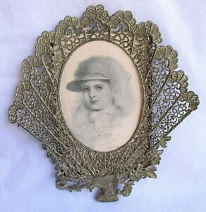 """Antique tin / metal pierced picture frame Holds photos 6.5"""" x 4.25"""" C. 1890"""