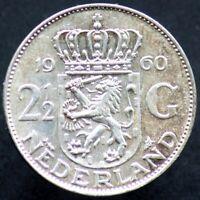 2 1/2 GULDEN 1960 PAYS BAS / NETHERLANDS (Argent / Silver) 01