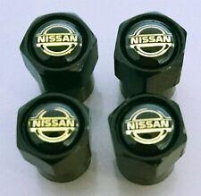 4 x Matt Black Tyre Valve Dust Caps (Fits NISSAN)