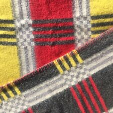More details for vintage wool blanket throw bedspread checked single red yellow grey reversable
