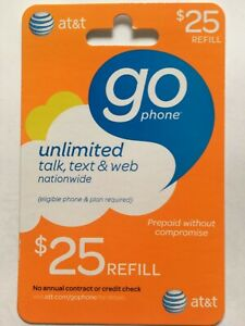 AT&T Go Phone Prepaid $25 Refill Will Ship Physical Card- Your Own Date To Load!