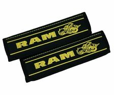 Car Seat Belt Covers Leather Shoulder Pads Yellow Embroidery Dodge RAM Super Bee
