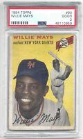 1954 54 Topps Willie Mays Vintage Baseball Card #90 New York Giants - GOOD PSA 2