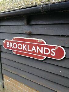 BROOKLANDS totem enamel sign British Rail station BR Brooklands sign porcelain