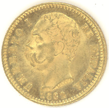 Italy 20 Lire 1882-R UMBERTO I Choice+ Brilliant Uncirculated gold coin