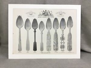 1880 Spoons Forks Silver Cutlery Victorian Advert Large Original Antique Print