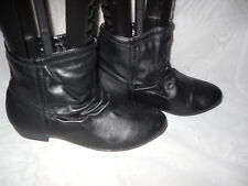 WOMENS F & F BLACK PULL ON SYNTHETIC BLOCK LOW HEEL ANKLE BOOTS SIZE:3/36(WB921)