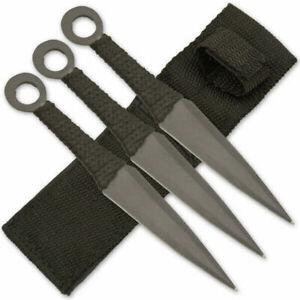 """3 PC TACTICAL METAL 6.5"""" THROWING KNIFE SET w/ SHEATH Combat Kunai Ninja Piece"""