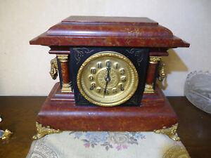 E N Welch Pinero No 3 Pillar Clock 8 Day Half Hr Strike Cathedral Gong Turn Back