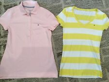 Tommy Hilfiger Womens Sporty Pink Button Down Shirt, Yellow Striped Tee Size S
