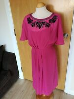 Ladies MONSOON Dress Size 12 Pink Black Beading Smart Party Evening Wedding