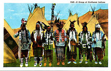 """A Group of Northwest Indians"" Robbins-Tillquist (CT Art-Colortone) Linen Card"