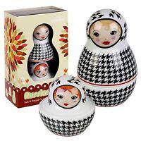 Russian Doll Style Novelty Salt & Pepper Shakers Pots Cellar Cruet Condiment Set