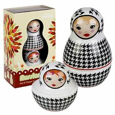 Russian Doll Style Novelty Salt & Pepper Shakers Pots Cellar Cruet Condiment Set