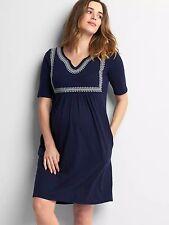 NWT Gap Maternity embroidered split-neck dress, dark night SIZE XL  #531830 v710