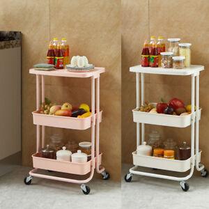 3 Tier Kitchen Trolley Cart Storage Rack Trolley Rolling Wheel with Tabletop UK