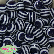 20mm Navy and White Stripe Resin Chunky Bubblegum Beads Lot 20 pc.