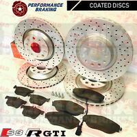 FOR VW GOLF R GTI AUDI S3 SKODA SEAT FRONT REAR DRILLED BRAKE DISCS MINTEX PADS