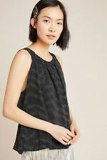 Anthropologie Tank Top Black Silver Carly Shimmer Size Medium Shirt Relaxed New