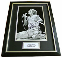 ROD STEWART HAND SIGNED & FRAMED AUTOGRAPH PHOTO MOUNT DISPLAY FACES GIFT & COA