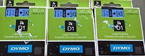 Dymo D1 Labelmanager 3 Pack 45016 Black Blue Label Tape 12mm x 7m AU Stock