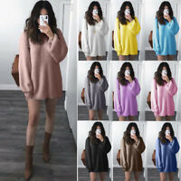 2019 Women Solid O-Neck Loose Knitted Warm Long Latern Sleeve Sweater Blouse AU
