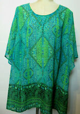 Catherines 2X Tunic Top Multicolor Geometric Print Gemstone 3/4 Dolman  Sleeves
