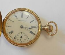 Pendant Pocket Watch Seaside #10292596 Waltham 14K Yellow Gold Hunting Case
