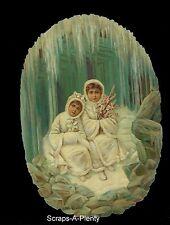 German Embossed Scrap Die Cut - Large Precious Cameo Winter's Children   BK5035