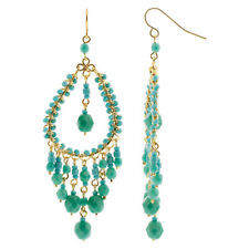 Gold Plated Turquoise Czech Seed Beads Handmade 26 x 70mm Chandelier Earrings