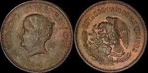 """1944-MO MEXICO 5 CENTAVOS CENTS """"CINCO"""" COLOR TONED HIGH GRADE COIN"""
