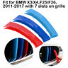 For BMW X3/X4 F25/F26 11-17 Grille Grill 3 Colors Cover Clip Strip 7 Slats Bars