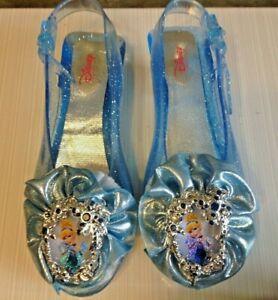 Disney Cinderella Blue Jelly Plastic Heel Shoes Dress Up Costume Halloween Child