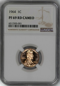 :1964 1C LINCOLN CENT SPOTLESS RARE NGC PF-69-RD-CAMEO LOW-POP HIGHEST-GRADES